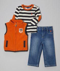 Look at this #zulilyfind! Orange & Charcoal Stripe Vest Set - Toddler #zulilyfinds