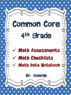 Common Core Math Assessments for 4th Grade $8