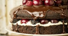 Guiness Chocolate Cake with Fruit and Chocolate Ganache
