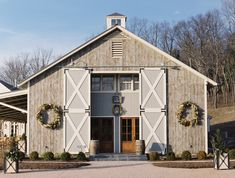 I would so love to do this ! grey barn with big doors