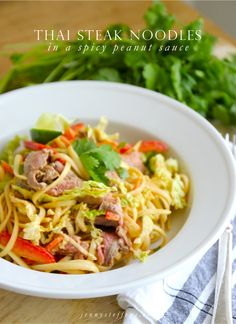 Thai Steak Noodles with Vegetables in a Spicy Peanut Sauce | Easy Thai Recipe!