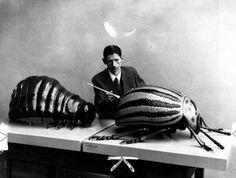 Franz Kafka preparing Gregor Samsa and Friend, 1915.  (from Metamorphosis.)
