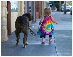 tie dye, little girls, anim, walks, friends, pets, children, kids, big dogs