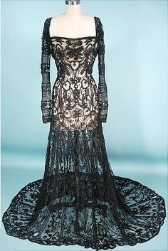1908 Black Lace Overdress Gown