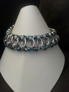 """Beaded Caterpillar Bracelet 16g 3/8"""" SWG rings with 18g 5/32"""" SWG and size 6 Toho seed beads."""