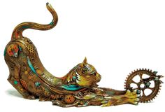 steampunk art, cats, catfish lili, nano lopez, stuff, art sculptur, steam punk, steampunk cat, bronz steampunk
