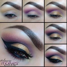 """1.Apply Moroccan Spice above Crease  2.Apply Ecstasy in crease and blend 3.Apply Gold Rush in Tear duct and on the first part of lid, followed by Goddess on the rest of the lid 4.Apply Onyx in Outer crease and slightly inward (lighter as you move inward) 5.Apply Little Black Dress gel liner (I went a bit more dramatic by bringing my winged liner in the crease) Lashes/ @Doseofcolors in """"Dose of Drama""""  ❤❤❤❤❤❤ #elymarino"""