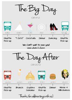a custom wedding itinerary created for a summer sonoma wedding