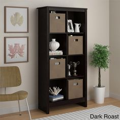 8-cube Storage Cubby Bookcase with Four (4) Storage Bins