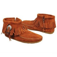 Just got these to wear for the warmer weather months when I can't wear my 3 layer fringe boots- Minnetonka Moccasin Women's Concho Feather Boot