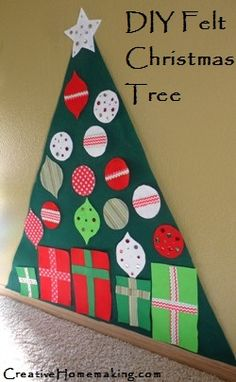 This felt Christmas tree is so easy to make. Kids will love decorating it over and over again.
