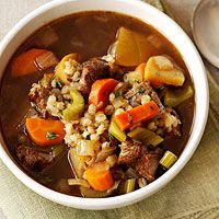 Beef and Barley Soup: http://www.familycircle.com/recipe/beef-and-barley-soup/