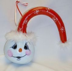 Snowman Dipper Gourd  Hand Painted Gourd Art by FromGramsHouse, $25.00