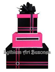 Buzón de Regalos/Card Box Fucsia & Negro (Boda/Wedding) Design by: Yil Siritt