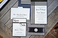Modern black and white stripe invitation suite created by Matinae Design Studio for Jessica Frey Wedding Workshop in Malibu.  www.matinaedesignstudio.com