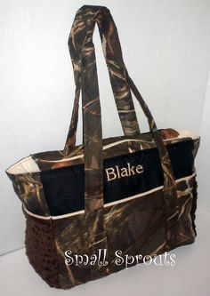 Advantage Max 4HD Camo /Chocolate Minky Dot Fancy Diaper Bag or Tote on Etsy, $99.00 A diaper bag a man would carry.