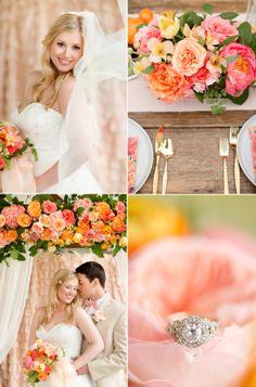 peony corals orange wedding peach pink southern bride pastel wedding summer color palette