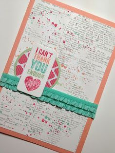 2013-2015 In Colours Card Stamp  Sets: Chalk Talk, Dictionary, Gorgeous Grunge Ellen Woodbridge Independent Stampin' Up! Demonstrator