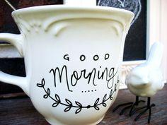 Good Morning  Hand Painted Ceramic Mug by LaBellaRae on Etsy, $15.00