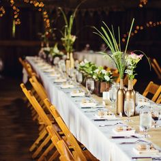 Long Reception Farm Tables // Our Two Hearts Photography // http://www.theknot.com/weddings/album/145330