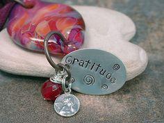 Lampwork Glass Boro Gratitude Stone Necklace with Angel Charm Pink Burgundy Peach Divine Spark Designs SRA LETeam. $52.00, via Etsy.
