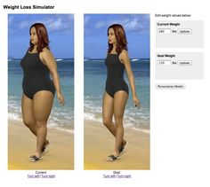 Women Weight Loss Simulator -- type in your current (or starting) weight and your goal weight and see the difference!
