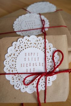 Brown paper packages, paper doilies and yarn....