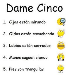 Give Me Five Behavior Management Posters - Spanish