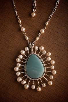 silver wirework pendant with amazonite and pearls by mosaicdesign on etsy