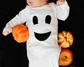 Friendly Ghost Baby Gown - Halloween Ghost Costume - Size Newborn 0-3 months Girl Boy Clothing