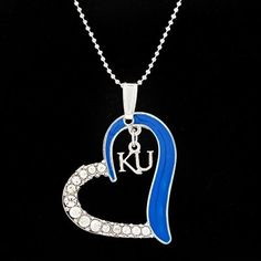 Kansas Jayhawks Women's Heart Necklace - Royal Blue