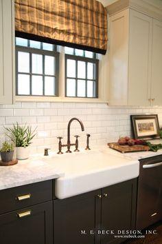 Vintage Inspired Kitchen, brass hardware.  dark lower cabinets, white uppers. live beauti, inspir kitchen, kitchen counters, black windows, farmhouse sinks, subway tiles, farm sinks, farmhous sink, vintage inspired