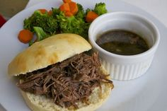 Slow Cooker French Dip - Once A Month Meals - Freezer Meals - Freezer Cooking - OAMC