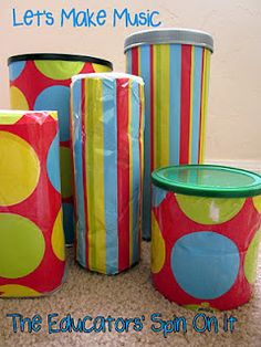 Making Instruments for Babies and Toddlers and preschoolers with recycled containers @theeducatorsspinonit.blogspot.com