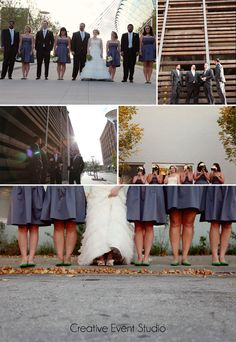 Bridal Poses - Wedding Group Photos - Kansas City - Crossroads {www.creativeeventstudio.com}, DIY green and grey wedding decor ideas