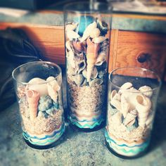 kinda did this with my sand and sea shells from our florida trip!