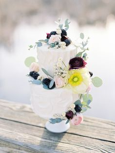 Cascading Berries & Flowers Tiered Cake