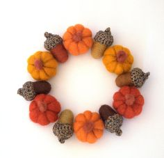 Autumn Weddinds favor 6 small wool Pumpkins  by astashtoys on Etsy, $24.00