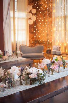 vintage-inspired wedding reception, photo by Zaugh Photography, styling by Sweet Emilia Jane http://ruffledblog.com/huron-substation-wedding #weddingreception #vintage #weddingideas