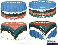 Great reference- Table cloth size and overlay size chart