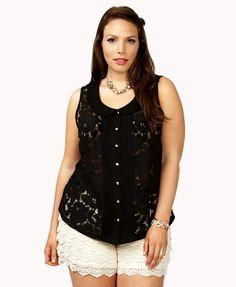 Plus Size Floral Lace Top $22.80