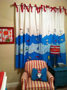 dr seuss nursery - Google Search  I think these are shower curtains converted into window curtains