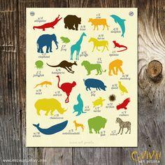 Animal Alphabet Art Print - children Room Decoration - Wall art - colourful art for children. $16.00, via Etsy.