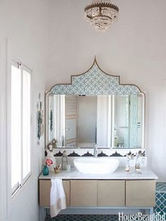 This is my Moroccan style bathroom at my home #PeacockPavilions in #Marrakech.  Moroccan design.