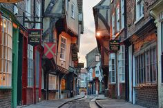 """""""The Shambles"""" street in York, UK, reputed to be Europe's best-preserved medieval street and was voted Britain's most picturesque"""