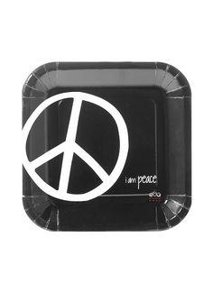 """I am Peace"" Black Dinner Plates"