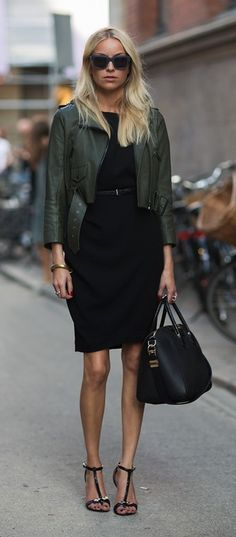Green leather - Stockholm Streetstyle