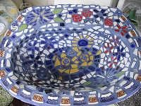 old sink mosaic for bird bath or planter