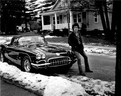 Bruce Springsteen with his Corvette in Haddonfield, NJ, 1978