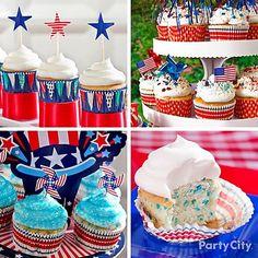 Four for the 4th! Super-easy star-spangled cupcake ideas. cupcake stands, juli parti, patriot cupcak, parti idea